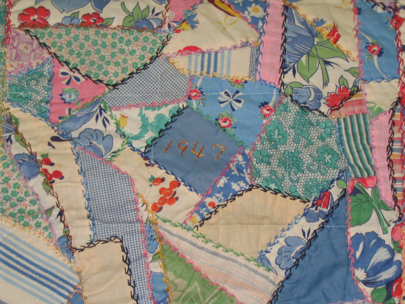 Close up of center of quilt